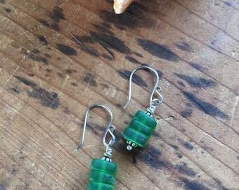 Seaglass earrings, green earrings, green glass earrings, seaglass drop earrings