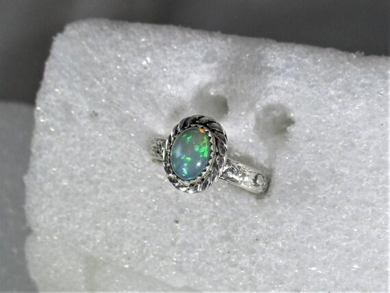 Genuine Ethiopian opal gemstone handmade sterling silver statement ring sz 7 1/2  - opal ring - fire opal - natural opal - opal jewelry