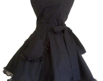 Black Retro Apron Classy Little Black Apron Circular Skirt