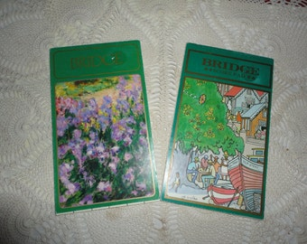 Vintage Bridge Score Pads Tally Pads Set Of Two Bridge Pads Claude Monet The Garden Caribbean Graphics