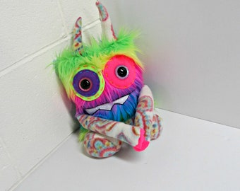 Monster Plush - Handmade Rainbow Plush Monster - OOAK Monster Toy - Neon Rainbow Faux Fur Monster - Happy Stuffed Monster - Weird Cute Toy