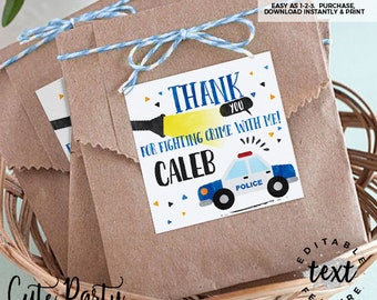INSTANT DOWNLOAD - EDITABLE Police Birthday decorations Favor tags Cops and robbers printable decorations Police party sign favor tags