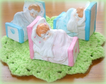 Children Figurines Asleep in Their Beds Vintage Porcelain Excellent Condition Boy in Blue or Girl in Pink Baby Shower Cake Decoration
