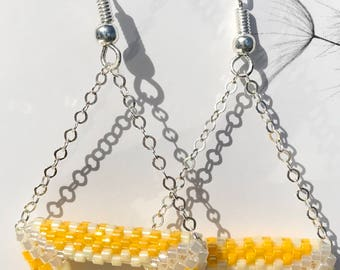 White and Yellow Triangle Earrings