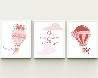 Oh the places you will go printable pink hot air balloon girl nursery wall decor with flowers instant download, kids playroom child room art