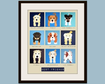 Art for children wall art for kids. Blue Puppy dog prints for dog lover. Pet art, dog art. Boys Nursery art, nursery decor by WallFry