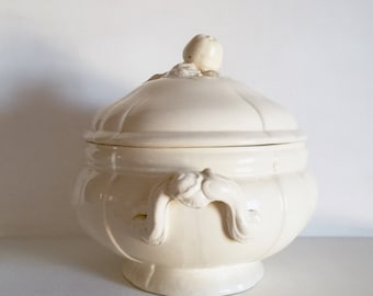 French Antique Serraguemines Tureen - French Creamware Soup Tureen - Large Serving Bowl with Lid - French Cream Ceramic Serving Dish