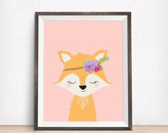 fox wall art, fox nursery decor, fox art, fox art prints, fox artwork, fox art nursery, flower fox, girl fox, girls room decor, pink bedroom