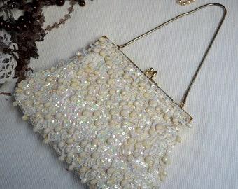 Vintage Handbag, Vintage Clutch, Beaded Handbag, Beaded Clutch, Cream Handbag, Sequin Handbag, Sequin Clutch, Gifts for Her, Wedding Gift