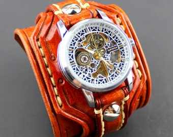 Leather Watch, Steampunk Watch, Men's watch, Leather Wrist Watch, Leather Cuff, Bracelet Watch
