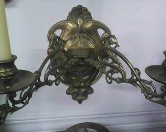 Antique art nouveau  brass candelabra..