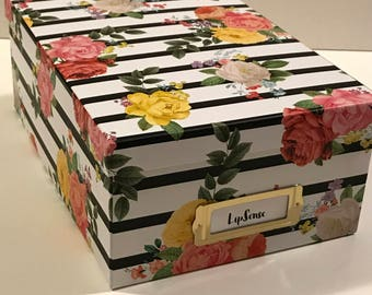 Floral with black stripes LipSense storage box