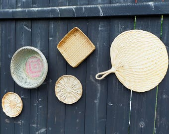Wall basket set, Set of 5, boho decoration, wall basket decor, beach house decor, woven wall basket collection, wicker baskets, wall baskets