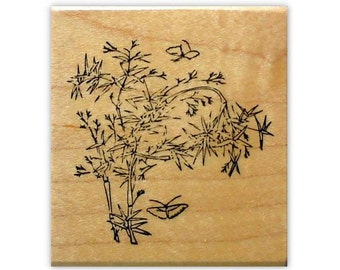BAMBOO with Butterflies Mounted rubber stamp, oriental, Asian, Japanese, Chinese, nature, Sweet Grass Stamps No.12