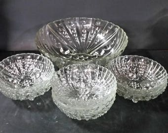 Vintage Anchor Hocking clear  Burple  bowls.  1 - 8 inch serving and 7  Berry dessert  bowls.