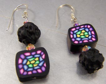 Stained Glass Polymer Clay Earrings Sterling Silver