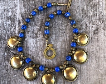Blue Vintage Glass and Brass Necklace