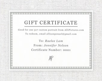 GIFT CERTIFICATE – 5 x 7 – Original, One-of-a-Kind, Personalized, Hand Drawn Illustration (Children Only)