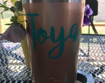 Personalized, monogrammed, custom steel tumbler 20 oz, name, women, men, cup