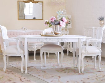 Shabby Cottage Chic Oval Dining Table With Roses French Vintage Style White  Roses Furniture #9999