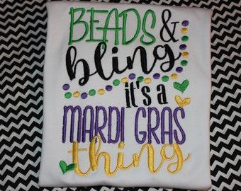 Beads & Bling, It's a Mardi Gras Thing- tshirt or dress- Mardi Gras parade