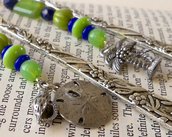 Bead Bookmark - Unique Bookmark - Blue and Green Glass Beaded Bookmark - Ocean Theme Bookmark - Gift Idea for Book Lover - Stocking Stuffer