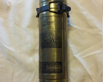 NEW PRICE!! Vintage Pyrene 1 1/2 quart Brass Heavy Vehicle Fire Extinguisher with mounting bracket