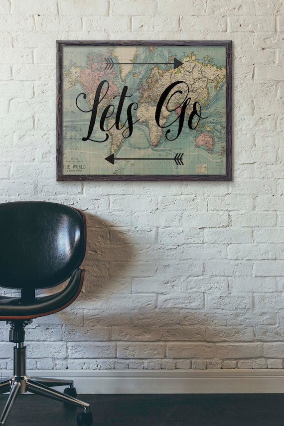 Lets go poster travel poster vintage world map poster gumiabroncs Gallery