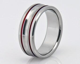 Titanium Wedding Band, Womens Titanium Ring, Mens Titanium Ring, Hypoallergenic Ring, Engagement Ring, Promise Ring, Wedding Ring, Red Ring