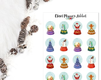 Christmas Snow Globes Planner Stickers | Christmas Stickers | Watercolour Stickers | Watercolour Christmas | Snow Globes Stickers (S-293)