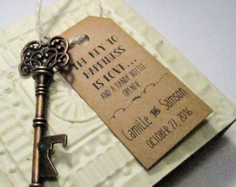 Rustic Key Bottle Opener - Wedding Favor - Set of 10 - Skeleton Key - Personalized - Custom - Unique - Vintage inspire - Key Ring