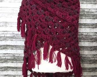 Berry tone crochet shawl / Gypsy shawl