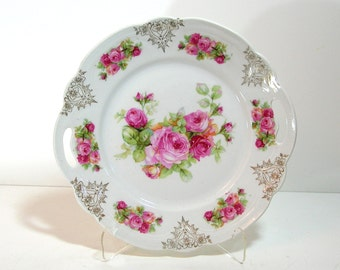 Vintage Pink Roses Romantic Home Decorative Plate