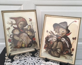 Vintage M I Hummel Boy and Girl Pictures ~ Set of Two ~ Girl with Chicks  Boy with Rabbits ~ Gold Frames  ~ 11 x 8.5
