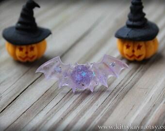Lavender Glitter Bat Ring