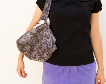 Bundle bag, «Sac Baluchon», grey suede split leather with patterns brown and purple, so chic !
