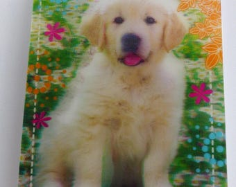 Notepad cover 3D golden retriever puppy dog