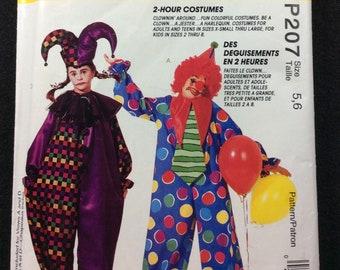 McCall's Clownin' Around Child's Clown Costume Pattern P207 Size 5, 6 2 Hour Costumes