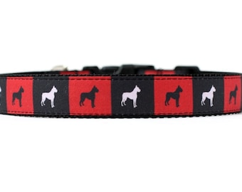 1 Inch Wide Dog Collar with Adjustable Buckle or Martingale in Boxers in Boxes an Exclusive Design