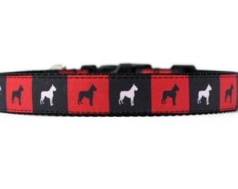 1 pouce large collier de chien avec boucle ajustable ou Martingale en boxeurs dans des boîtes un Design exclusif