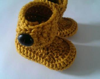 Hat/boots/baby hat/baby boots/baby slippers/mustard/wool/winter hat/crochet hat/wool hat/boys hat/merino wool/newborn/pregnancy/baby shower/