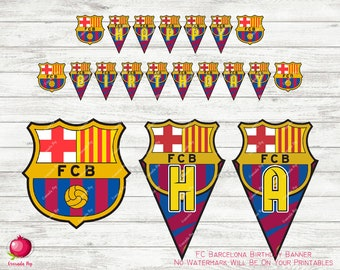 FC Barcelona Birthday Banner - Barcelona Birthday Banner - Barcelona Banner - FC Barcelona Birthday Party - Digital Download