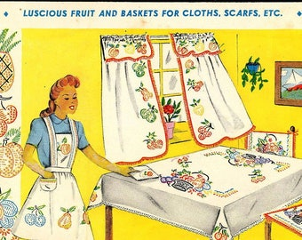 Fruit & Baskets Hand Embroidery 134 in PDF format emailed 2U a large basket of flowers Pineapple Grapes Cherries Strawberries Pear Lemon