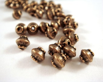 25 Bicone Spacer Beads Antique Copper Saucer 4x4mm  1mm hole Plated Alloy LF/CF - 25 pc - M7044-AC25
