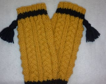 Leg warmers gaiters knitting 100% hand-made in France twisted yellow mustard and Blue Navy with tassels all sizes available