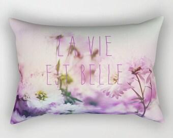 decorative rectangular throw pillow-inspiring words-quote-nature-flowers-daisies-feminine home docor-girls room decor-bedroom decor