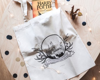 Tote bag organic Harry Potter quote harry potter illustration Hogwarts canvas grocery bag