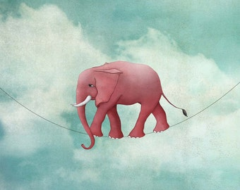 Walking on a thin line - Art print by Majali