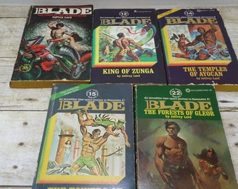 Blade set of 5, vintage sci fi books from the 1970s, Jeffrey Lord