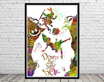 Alice in Wonderland inspired, Alice, Cheshire Cat and White Rabbit, Down the Rabbit hole, Watercolor print, print(1506b)